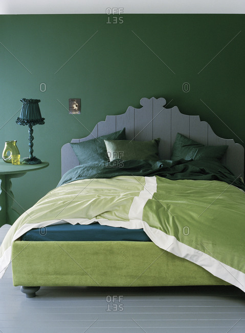 Bedroom interior in green colors