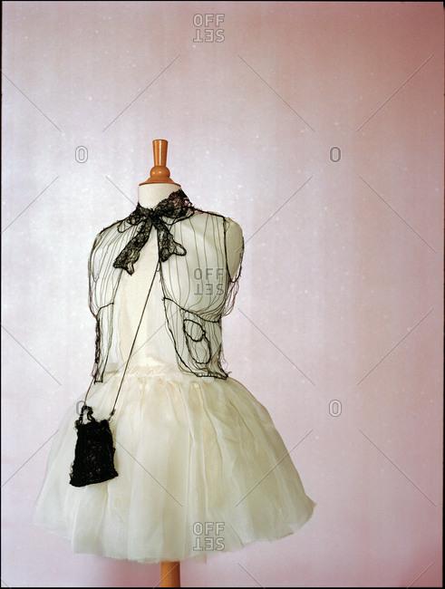 Frilly dress on a dress form