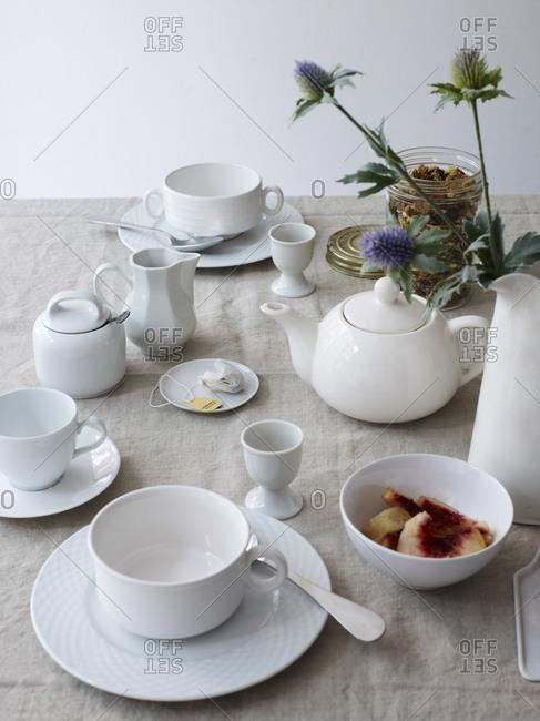 Porcelain tea set on a table