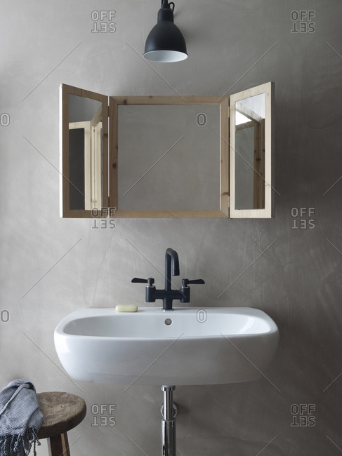 Interior design of a bathroom with a sink