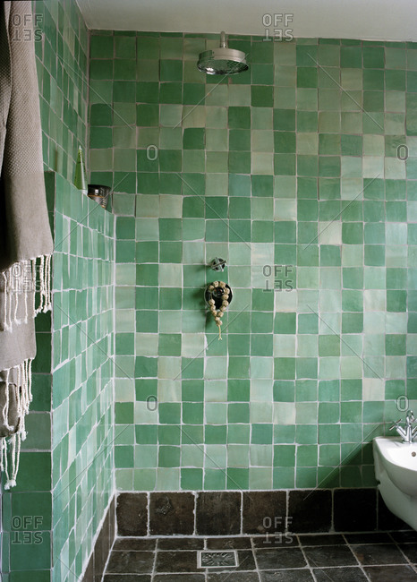 Interior of a green bathroom