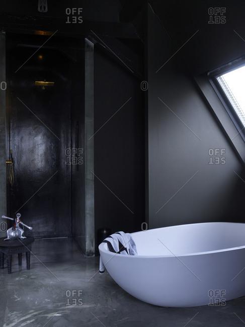 Interior design of a bathroom with a large bathtub