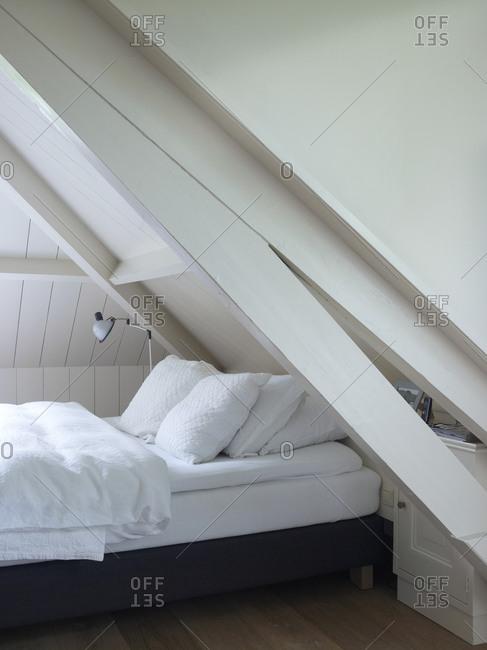 Interior of an attic bedroom