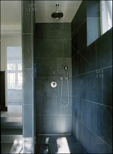 Interior of a blue bathroom
