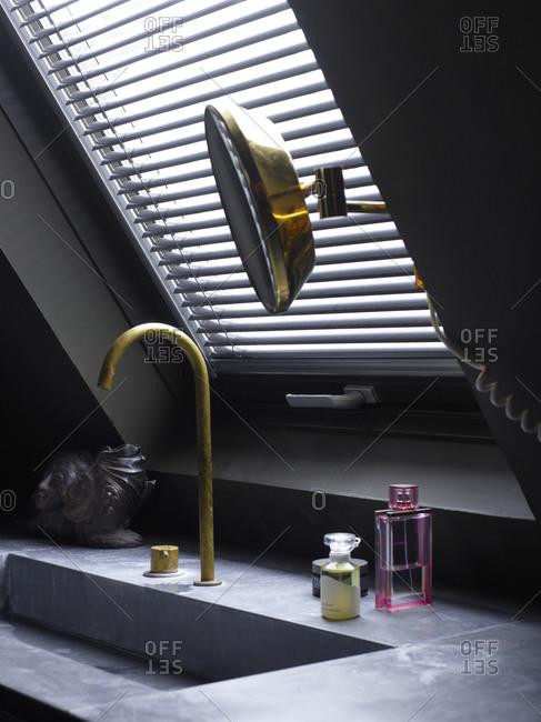 Interior of a bathroom with a stylish sink