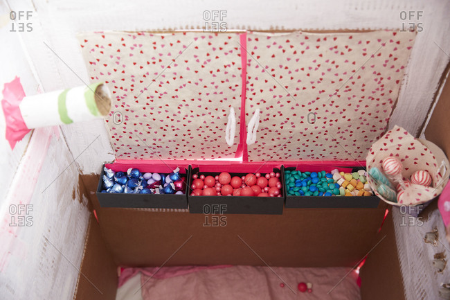 Candy storage in a homemade candy ATM