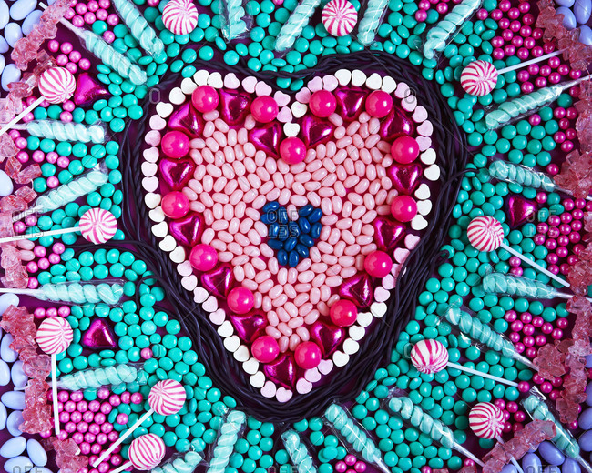 A heart made from a variety of candy