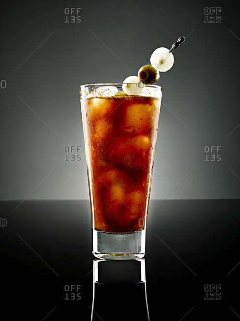 A bloody mary served with olives