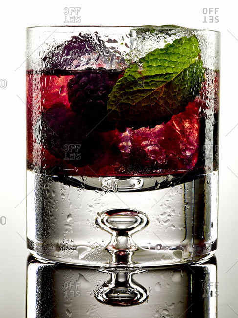 A mint and raspberry cocktail