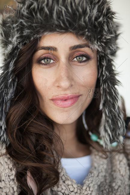 Portrait of a woman in furry hat