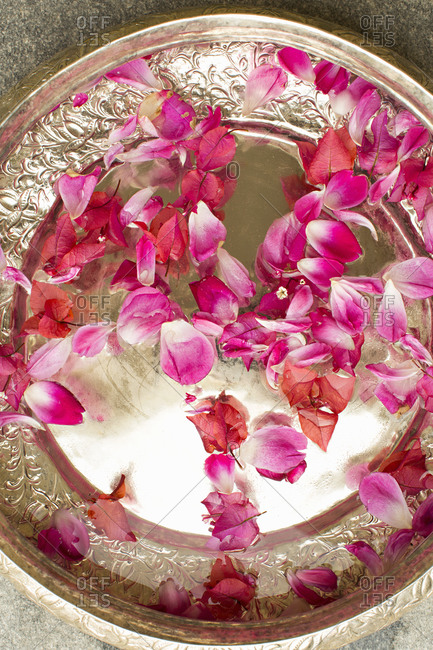 Flowers on platter in Indian hotel
