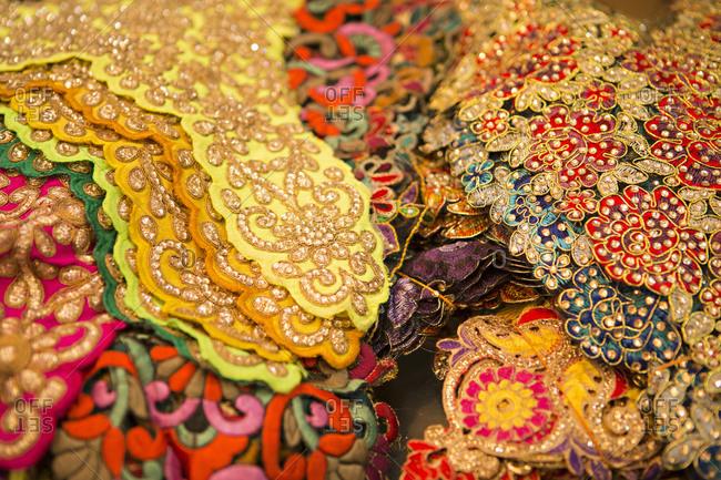Ornate fabric in Old Delhi, India