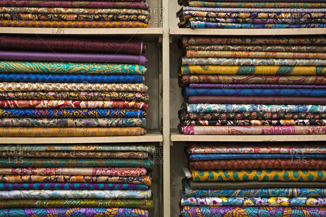Patterned material on shelf in India