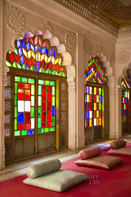 Stained glass windows in Meherangarh Fort, Jodhpur