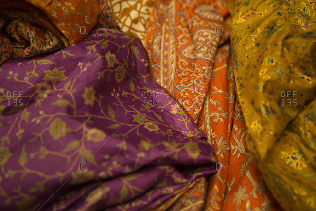 Pile of various fabrics in India