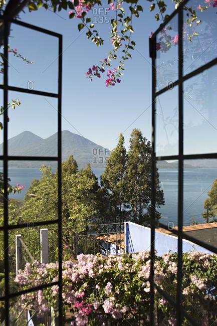 Window with view of Lake Atitlan, Guatemala