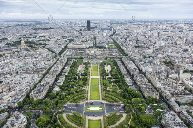 Elevated view of Paris from the Eiffel Tower