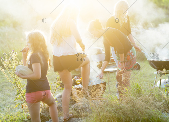 Family having a summer barbecue