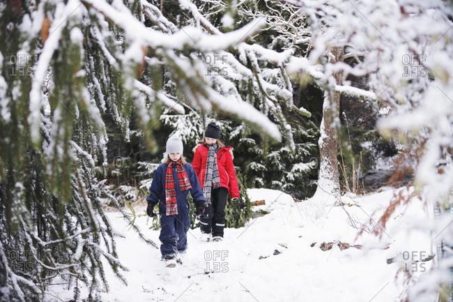 Girls walking through winter forest