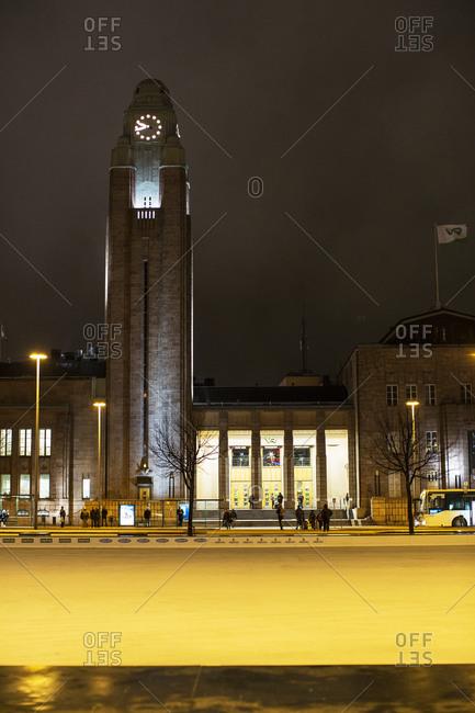Helsinki, Finland - December 29, 2013: Helsinki Central railway station illuminated at night