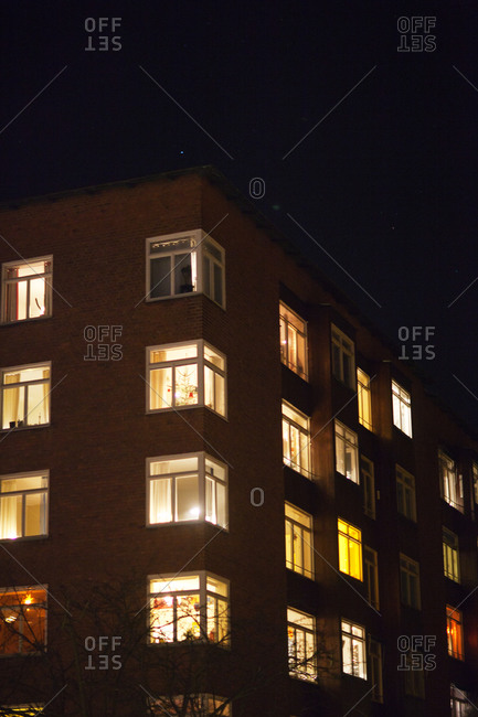 Illuminated block of flats