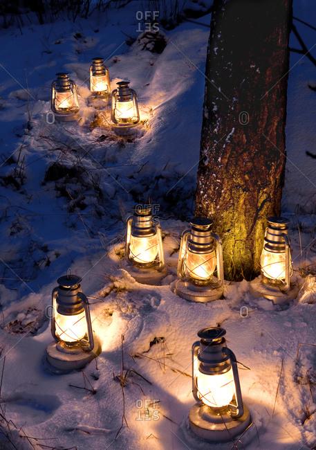Kerosene lamps on snow