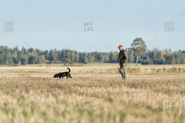 Man letting dog follow a scent while hunting