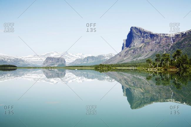Peaks reflecting in lake - Offset