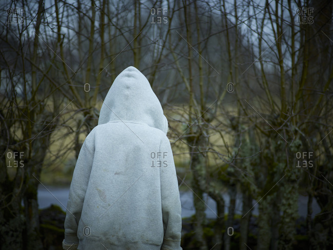Rear view of a person wearing a hoodie