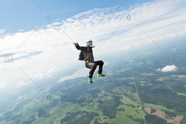Sky-diver in air freefalling