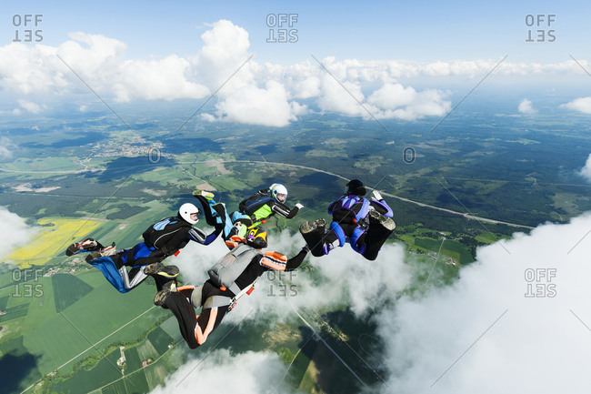 Sky-divers in air