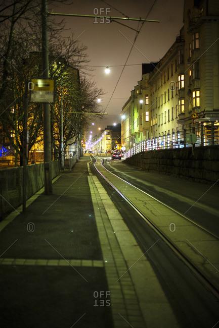 Tram tracks at night