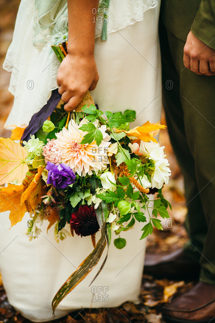 Close up of bride holding a bouquet