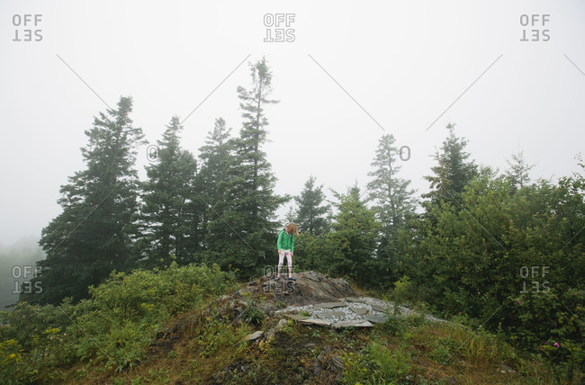 Girl standing atop a rock on a foggy day in the woods