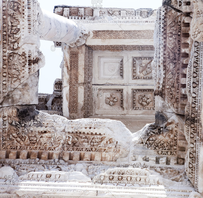 The ceiling of a temple in the ancient city of Ephesus, Turkey