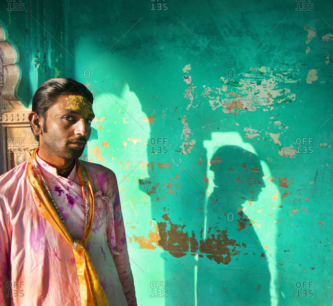March 5, 2015: A man celebrating Holi, the Hindu festival of color in India, Mathura