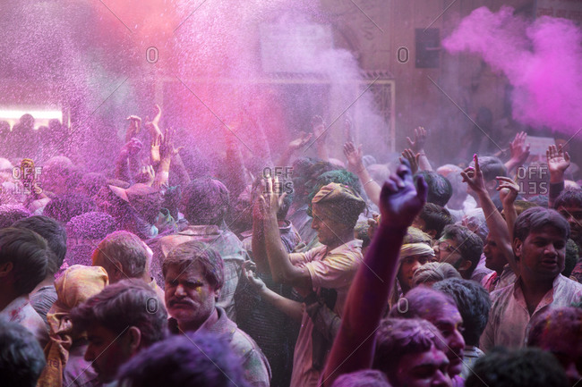 March 5, 2015: The Banke Bihari Temple during Holi, the Hindu festival of color