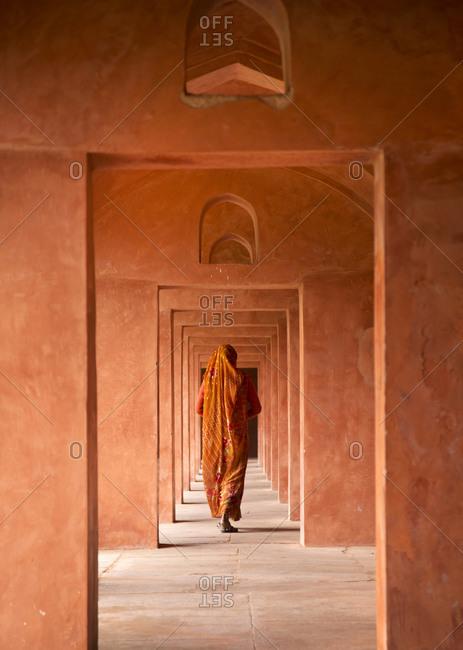 An entrance to the Taj Mahal in Agra, India