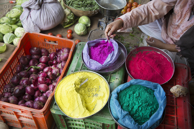 Powder for sale in a market during Holi, the Hindu festival of color in Mathura, India