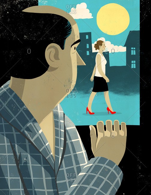 Illustration of man watching woman walk past his window