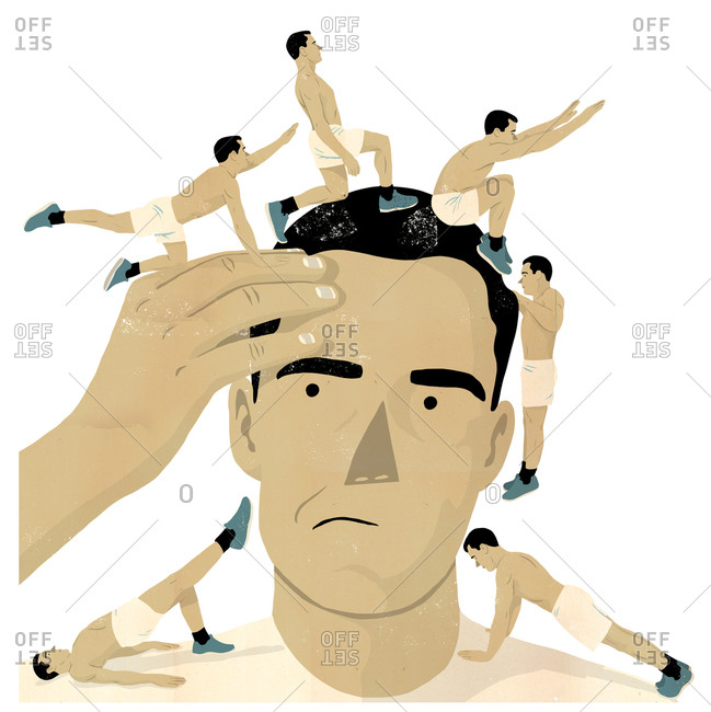 Illustration of man doing exercises around man's head