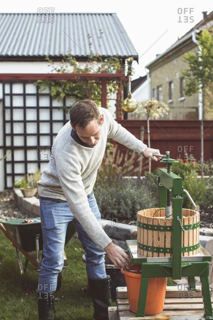 Man processing fresh apples in cider press