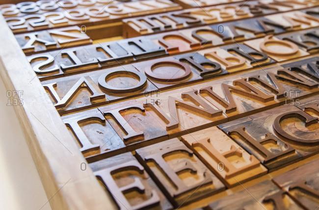 Wooden letterpress blocks