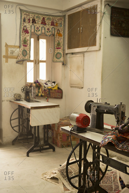 Sewing machines in the Ganesh Handicraft Emporium in Udaipur, India
