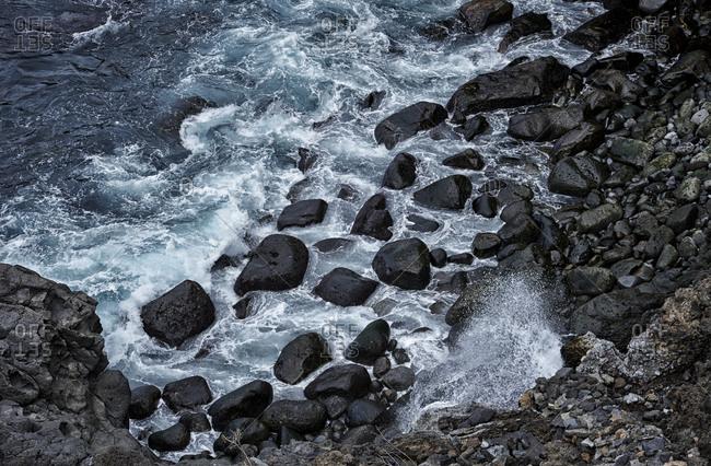 Black rocks in the sea