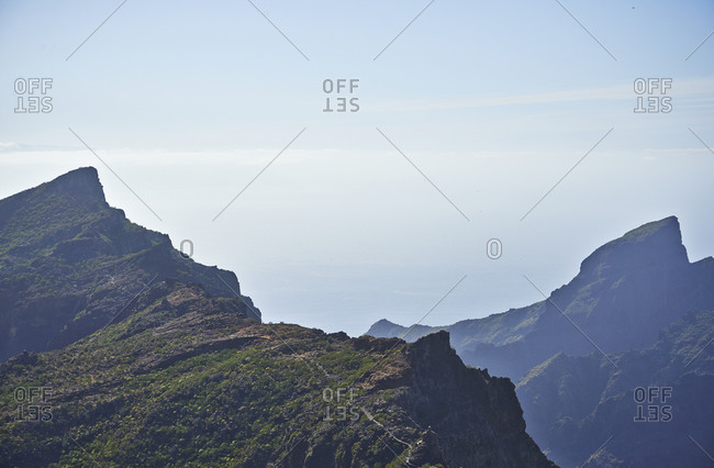 Jagged volcanic mountains on the island of Tenerife, Canary Islands