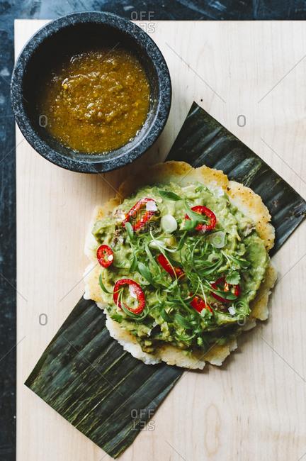 Spicy guacamole and salsa