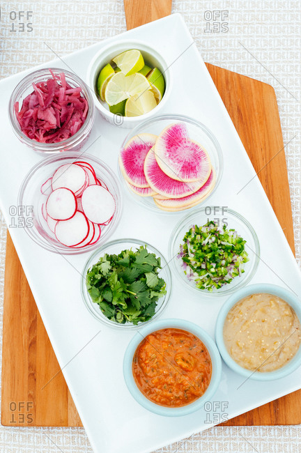 Various taco toppings for outdoor taco picnic
