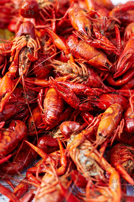 A pile of cooked crayfish