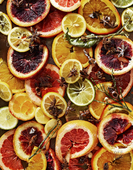 Thin slices of citrus fruit